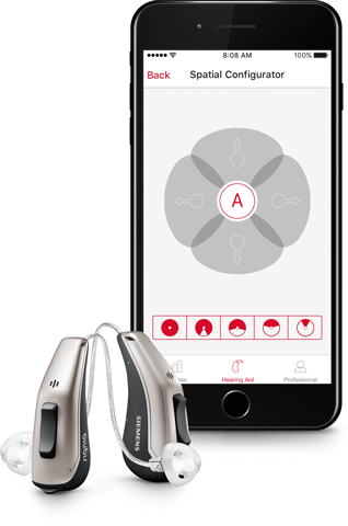 Signia Hearing aids in front of a cell phone