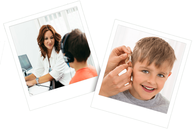 two images of children with hearing aids